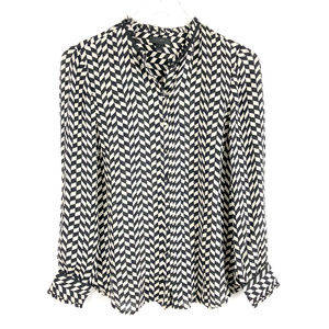J. Crew SILK Checkered Geo Houndstooth Blouse Top